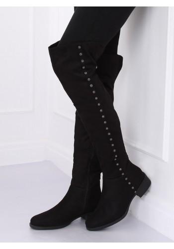 Černé semišové kozačky nad kolena s kamínky pro dámy