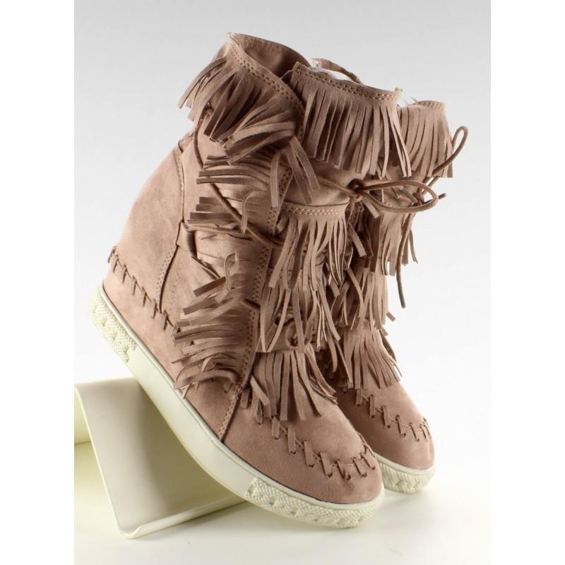Semišové Sneakers na platformě s třásněmi šedé barvě