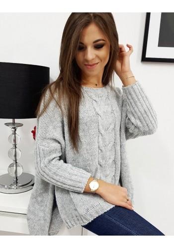 Dámský oversize svetr s 3/4 rukávem v světle šedé barvě