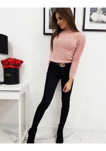 Růžový chlupatý svetr s polrolákem pro dámy