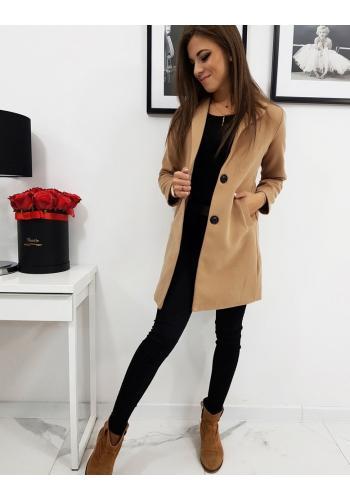 Hnědý jednořadý kabát pro dámy