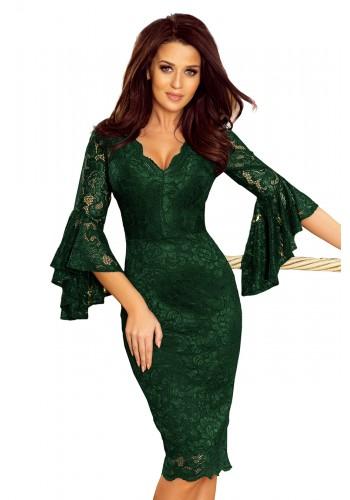 Tmavě zelené krajkové šaty s rozšířenými rukávy pro dámy