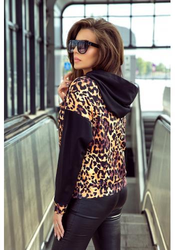 Stylová dámská mikina černé barvy s leopardím motivem