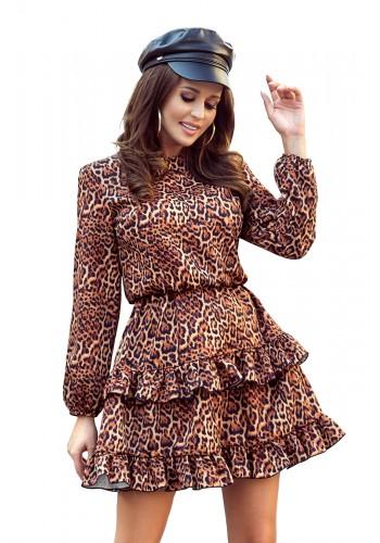 Hnědé leopardí šaty s volány pro dámy