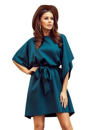 Dámské módní šaty s páskem v zelené barvě