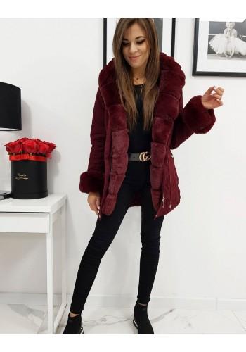 Zimní dámské Parky bordové barvy s kapucí