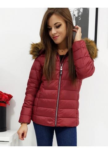 Prošívaná dámská bunda bordové barvy na zimu