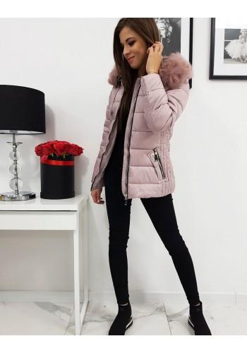 Růžová prošívaná bunda na zimu pro dámy