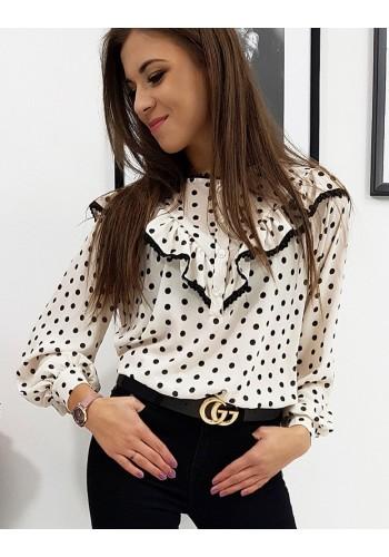 Tečkovaná dámská košile béžové barvy s volánem