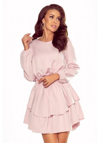 Starorůžové elegantní šaty s dvojitou sukní pro dámy