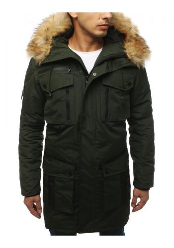 Zimní pánská bunda zelené barvy s kapucí