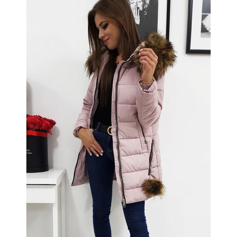 Dámská delší bunda na zimu v růžové barvě