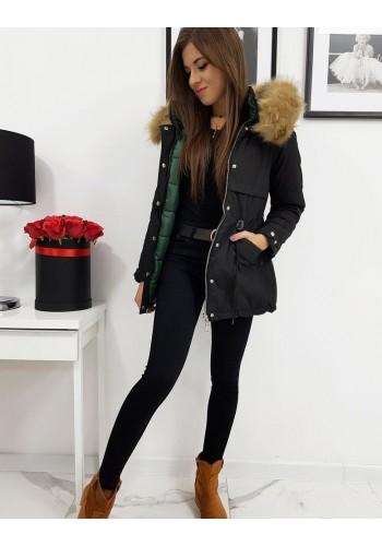 Černá oboustranná bunda s kapucí pro dámy