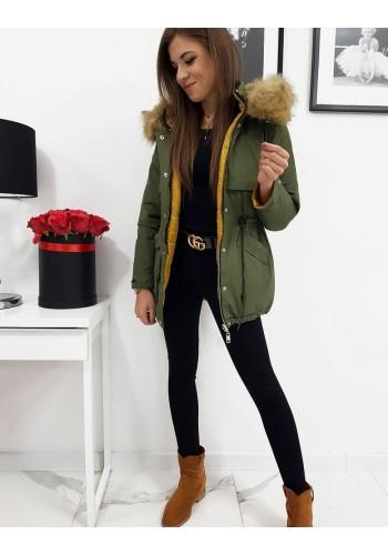 Oboustranná dámská bunda olivové barvy s kapucí