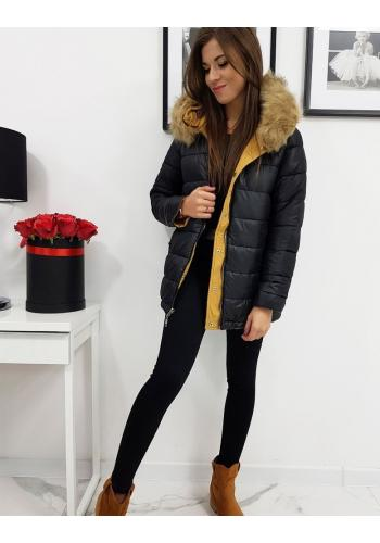 Dámská oboustranná bunda s kapucí ve žluté barvě
