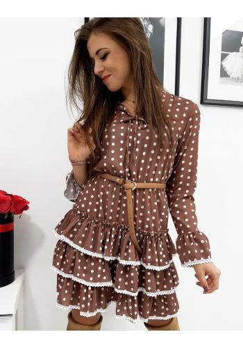 Hnědé puntíkované šaty s volány pro dámy