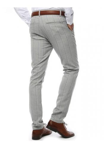 Proužkované pánské kalhoty světle šedé barvy