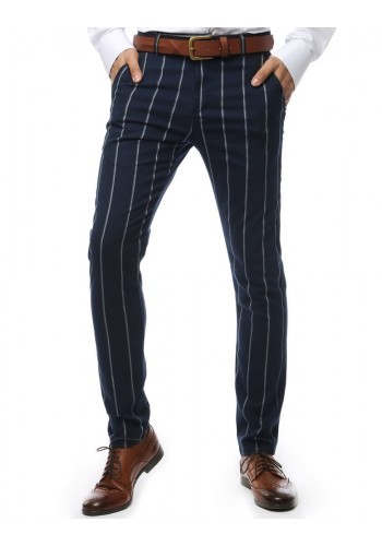 Pánské proužkované kalhoty v tmavě modré barvě