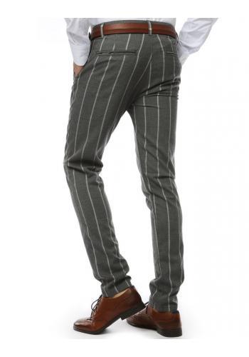 Tmavě šedé proužkované kalhoty pro pány