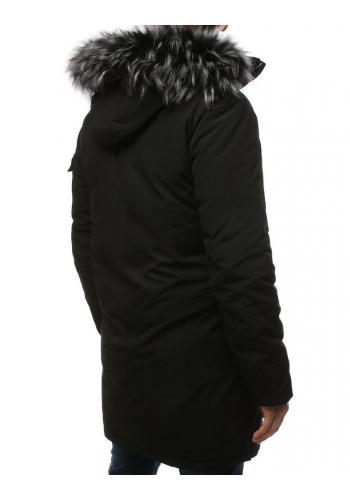 Černá zimní bunda s kapucí pro pány