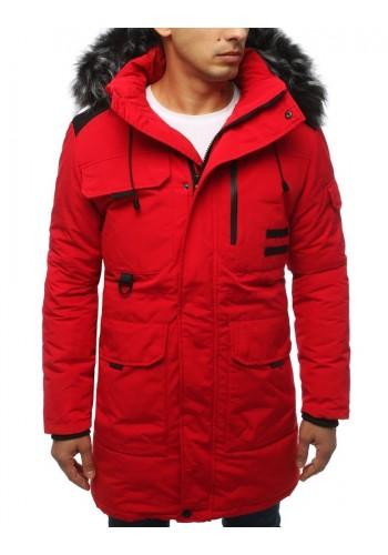 Pánské zimní bundy s kapucí v červené barvě