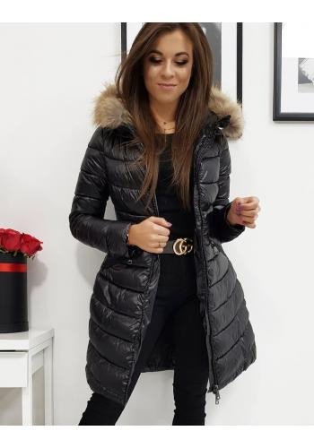 Černá prošívaná bunda na zimu pro dámy