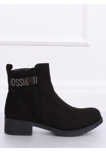 Semišové dámské boty černé barvy s ozdobou
