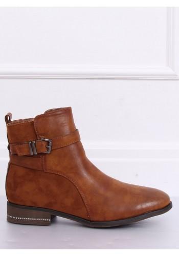 Hnědé módní boty s přezkou pro dámy