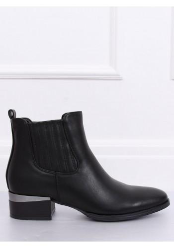 Dámské stylové polobotky s širokým podpatkem v černé barvě