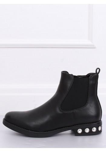 Módní dámské polobotky černé barvy s kamínky na podpatku