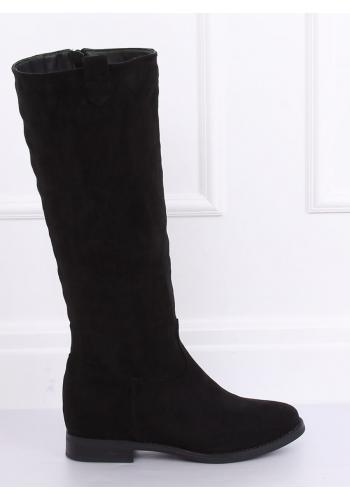 Semišové dámské kozačky černé barvy na skrytém podpatku