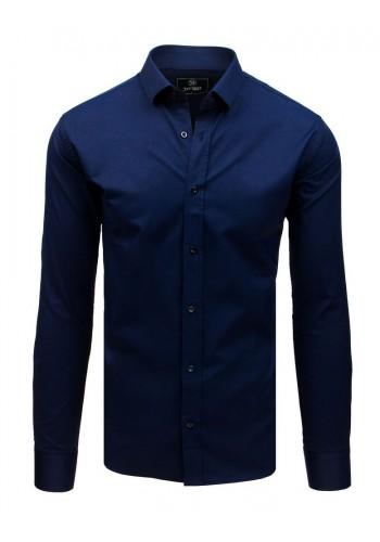 Elegantní pánská košile tmavě modré barvy s dlouhým rukávem