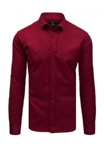 Pánská elegantní košile s dlouhým rukávem v bordové barvě
