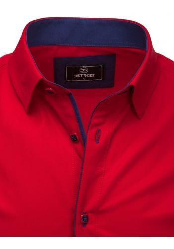 Pánská elegantní košile s dlouhým rukávem v červené barvě