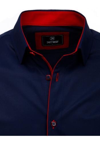 Pánské elegantní košile s dlouhým rukávem v tmavě modré barvě