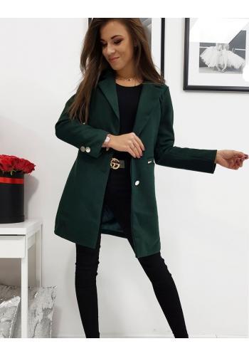 Tmavě zelený jednořadý kabát na jaro pro dámy