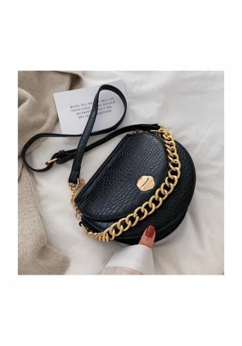 Dámská módní kabelka se zlatým řetízkem v černé barvě