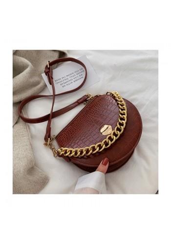 Hnědá módní kabelka se zlatým řetízkem pro dámy