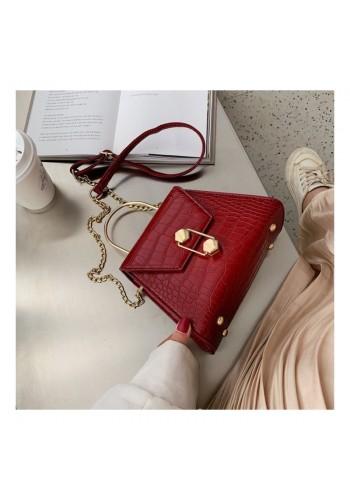 Dámská stylová kabelka s motivem hadí kůže v červené barvě