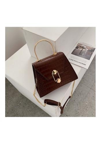 Stylová dámská kabelka hnědé barvy s motivem hadí kůže