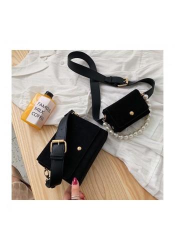 Černá elegantní kabelka s kapsičkou pro dámy