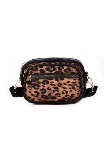 Hnědá stylová kabelka s leopardím vzorem pro dámy