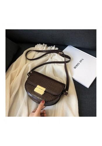 Dámská módní kabelka s motivem hadí kůže v hnědé barvě