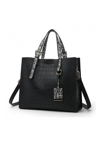 Dámská módní kabelka s motivem hadí kůže v černé barvě
