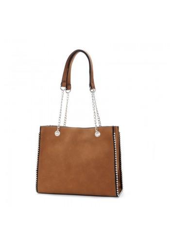 Dámská elegantní kabelka se stříbrnými kuličkami v hnědé barvě