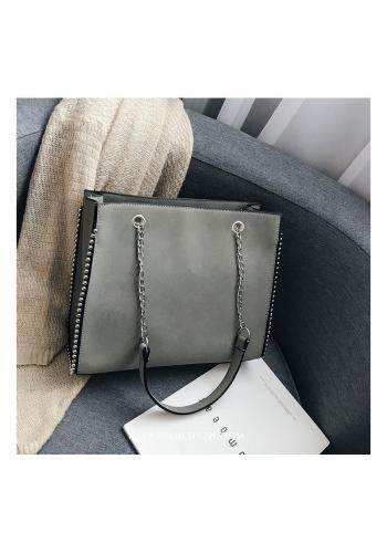 Elegantní dámská kabelka šedé barvy se stříbrnými kuličkami