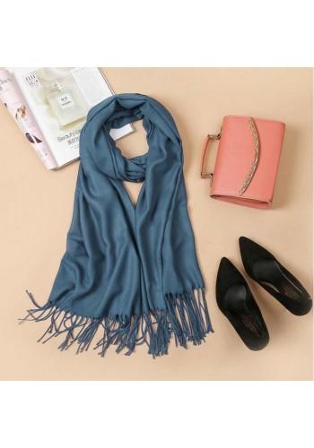 Modrá elegantní šála s třásněmi pro dámy