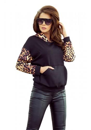 Černá stylová mikina s leopardím motivem pro dámy