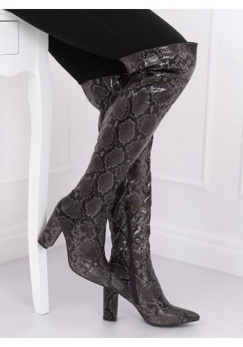 Dámské kozačky nad kolena s motivem hadí kůže v černé barvě