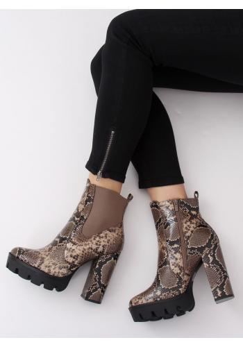 Stylové dámské kozačky khaki barvy na podpatku s motivem hadí kůže